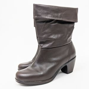 Dansko Leather Fold Over Comfort Boots 41 11 brown